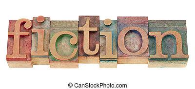 ficción, en, madera, texto impreso, tipo