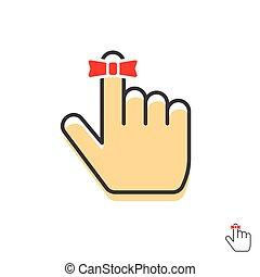 ficelle, arc, vecteur, doigt, rappel, icône, ruban, rouges