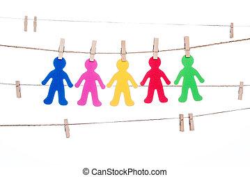 ficelle, association, coloré, agrafe, gens,  global,  multiracial, pendre