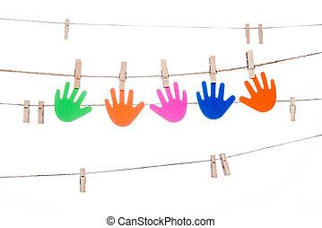 ficelle, association, coloré, agrafe,  global, main,  multiracial, pendre
