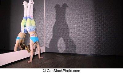 ficelle, danse, couleur, danse, poteau, miroir, girl