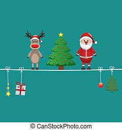 ficelle, fond, arbre, renne, vert, santa