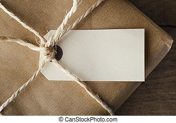 ficelle, haut, attaché, étiquette, vide, fin, paquet