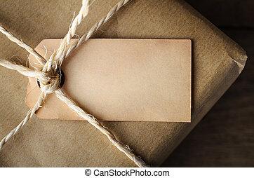 ficelle, haut, attaché, étiquette, vide, fin, vieilli, paquet