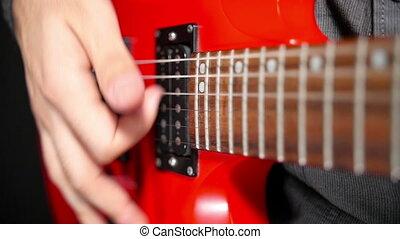 ficelle, vibration, haut, guitare, fin, électrique
