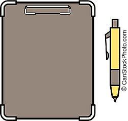 fichário, e, caneta esferográfica