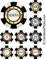 fiches poker - illustration set of chips in variant value