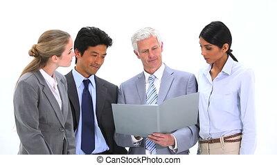 fichier, équipe, sien, directeur, projection