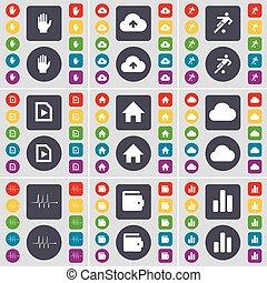 fichier, boutons, ensemble, coloré, plat, main, pouls, football, symbole., maison, grand, nuage, vecteur, diagramme, portefeuille, design., ton, icône