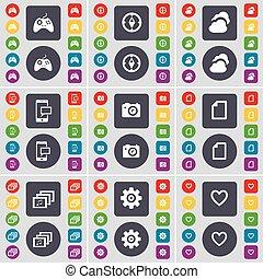 fichier, coeur, ensemble, engrenage, coloré, plat, gamepad, grand, galerie, sms, symbole., boutons, vecteur, compas, appareil photo, icône, nuage, ton, design.