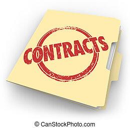 fichier, contrats, ventes, affaires, accords, chemise carton...