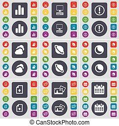 fichier, diagramme, ensemble, coloré, plat, lune, planète, symbole., envoyer un fichier par transfert de données en une ordinateur, boutons, grand, vecteur, pc, avertissement, icône, calendrier, nuage, image, ton, design.