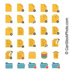fichier, et, dossier, icônes