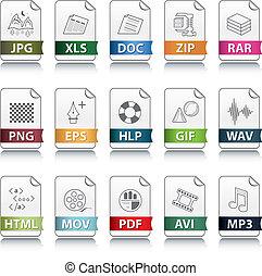 fichier, extension, icônes
