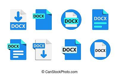 fichier, format, extensions, vecteur, collection, icons.