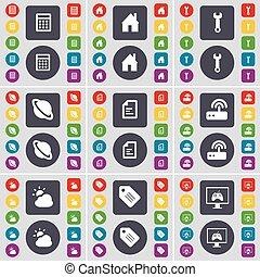 fichier, grand, ensemble, moniteur, icône, calculatrice, texte, symbole., maison, boutons, clé, plat, vecteur, routeur, planète, étiquette, nuage, coloré, ton, design.