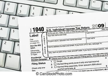 fichier, recettes, ton, impôts, ligne