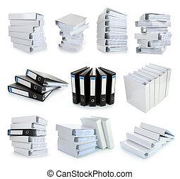 fichier, relieur, collection, bureau, pile