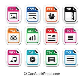 fichier, type, icônes, comme, étiquettes, ensemble, -, fermeture éclair