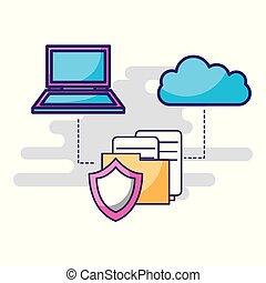 fichiers, bouclier, ordinateur portable, stockage, connexion, dossier, nuage