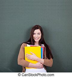 fichiers, classe, femme, contre, tableau, tenue