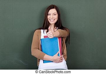 fichiers, classe, femme, projection, jeune, contre, signe, quoique, tableau, tenue, portrait, thumbsup