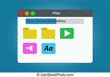 fichiers, dossiers, contient, directeur, fenêtre, fichier