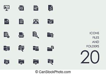 fichiers, dossiers, ensemble, icônes