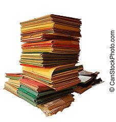 fichiers, dossiers, tas, vieux, bureau, sombre