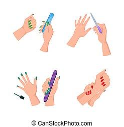 fichiers, femme, clou, propre, manucure, mains