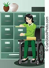fichiers, fonctionnement, femme affaires, fauteuil roulant, bureau, cabinet, classement