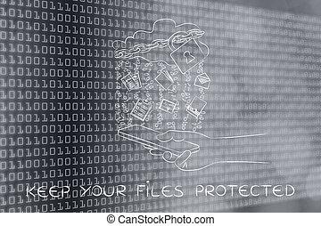 fichiers, mobile, documents, &, serrure, sur, garder, protégé, ton, nuage