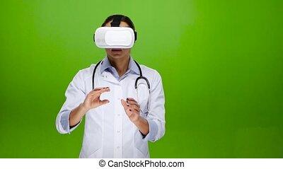 fichiers, monde médical, réalité virtuelle, examen, utilisation, lunettes