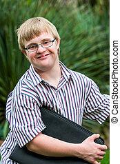 fichiers, tenue, jeune, bas, étudiant, outdoors., syndrome
