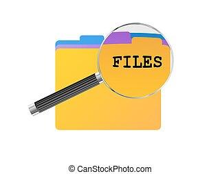 fichiers, verre, magnifier