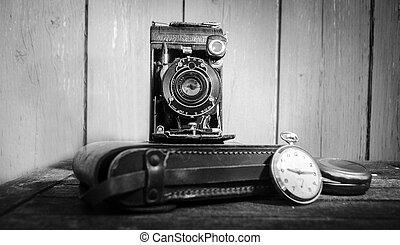 ficka, årgång kamera, ur