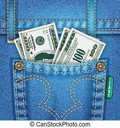 ficka, dollarräkningar, jeans