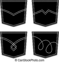 ficka, jeans, vektor, svart, symboler