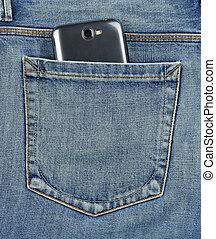 ficka tillbaka, av, jeans, rörlig telefonera
