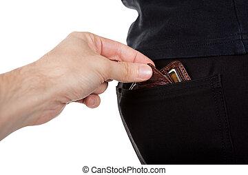 ficktjuv, stöld, a, bemanna, plånbok