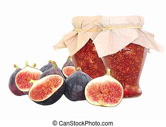 fico, frutte, e, fico, marmellata, isolato