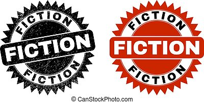 FICTION Black Rosette Stamp with Corroded Surface