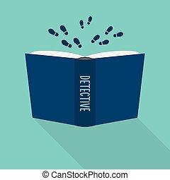 fiction, genre, littéraire, détective, livre, ouvert, concept, icon.