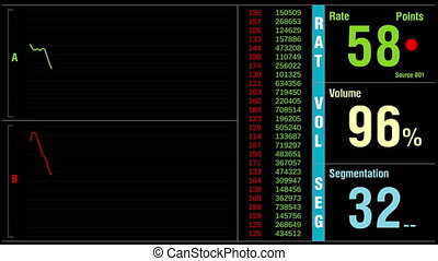 Fictional stock ticker. Dynamic graph and values.