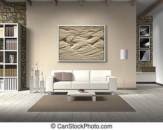 fictitious, 國家, 風格, 客廳, 由于, 白色, sofa;, the, 相片, 後面, the, 長椅,...