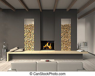 FICTITIOUS country style living room with fireplace