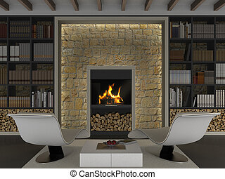 fireplace - fictitious interior rendering with library and ...