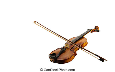 A Still life with a leaning fiddle with a bow on, isolated on white background