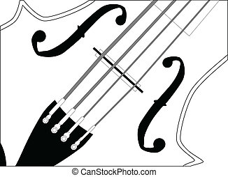 A close up of a violin in black and white