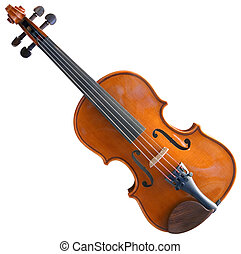 Fiddle Cutout - Violin Isolated with Clipping path on White...